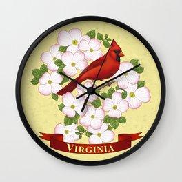 Virginia State Cardinal Bird and Flowering Dogwood Wall Clock