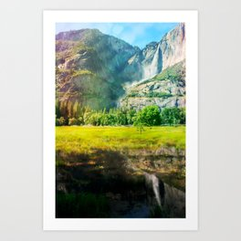 Yosemite Valley Waterfall Art Print