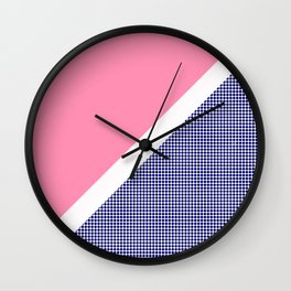 Pink Solid and Navy Dotted Wall Clock