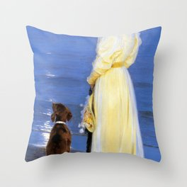 Peder Severin Kroyer - The Artist's Wife and Dog by the Shore - Digital Remastered Edition Throw Pillow