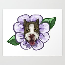 Flower Pittie Art Print