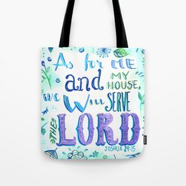 Purple and Blue Bible Verse Tote Bag
