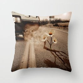 Exhausting Pipe Flowers Throw Pillow