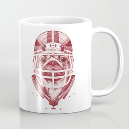 American Pug Football Red Coffee Mug