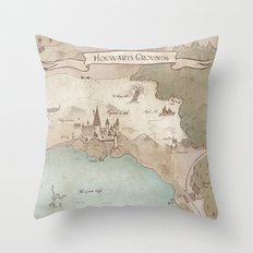 Map of Hogwarts Throw Pillow