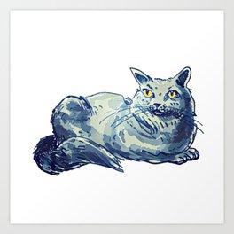 sweet cat lady british shorthair cartoon style illustration Art Print