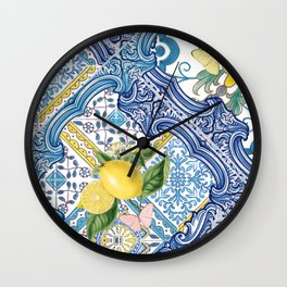 Sicilia Limones_italian summer citrus fruit tiles_bloomartgallery Wall Clock