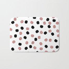 Modern rose gold black abstract brush polka dots  Bath Mat