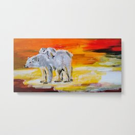 Polar Bears Surviving Metal Print