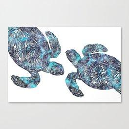 Sea Turtle Blue Watercolor Art Canvas Print