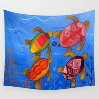 swimming Wall Tapestries featuring Swimming by Montes Arte Mexicano