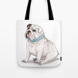 English Bulldog with Blue Scarf Tote Bag