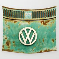 shipping Wall Tapestries featuring VW Retro by Alice Gosling