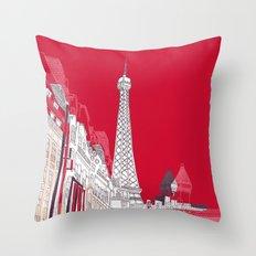 Glorious Paris - Red Throw Pillow