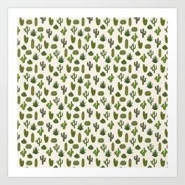 Cacti parade Art Print