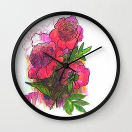 "Original Flower print ""Pink Peony, Lady Orchid"" Wall Clock"