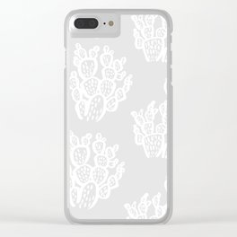 Prickly Pear Grey Cacti Clear iPhone Case