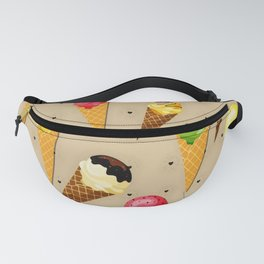 Ice cream hearts-Beige Fanny Pack