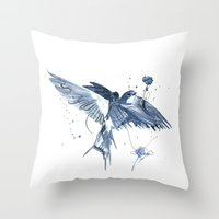 swallow Throw Pillows featuring Swallow by bethbile