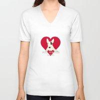 bull terrier V-neck T-shirts featuring Bull Terrier Love by ShaMiLa