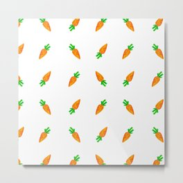 Hand painted green orange watercolor carrots pattern Metal Print