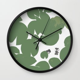 Summer fish pond with lily pads Wall Clock