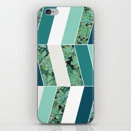 Teal Herringbone #society6 #teal #succulent iPhone Skin