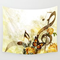 music notes Wall Tapestries featuring Butterfly Music Notes by FantasyArtDesigns