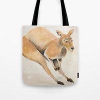 kangaroo Tote Bags featuring Kangaroo by 1k Blooms Studios