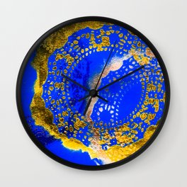 Royal Blue and Gold Abstract Lace Design Wall Clock