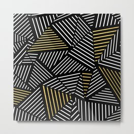 A Linear Black Gold Metal Print