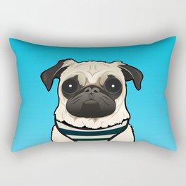 Doug the Pug - Blue BG Rectangular Pillow