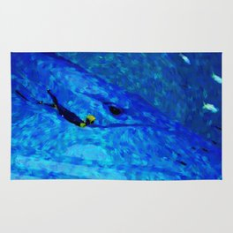 Swimming with whale painting print Rug