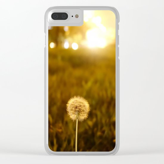 Golden Dandelion Sunset Clear iPhone Case