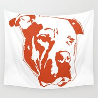 pitbull Wall Tapestries featuring COACH - ORANGE by Kirk Scott