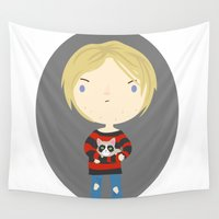 kurt cobain Wall Tapestries featuring Cat Cobain by Maria Jose Da Luz