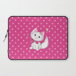 Cute White Kitten with Butterfly on Pink Background Laptop Sleeve
