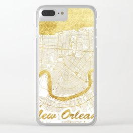 New Orleans Map Gold Clear iPhone Case