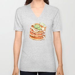 Buttermilk pancakes. Pastry, dessert. Watercolor hand-drawn sketch. Funny character with human face Unisex V-Neck