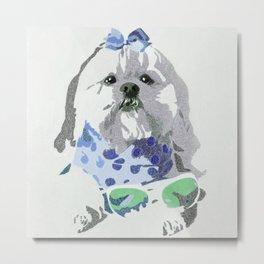 Beausy Bear Blue Metal Print
