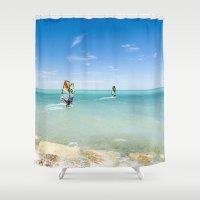 surfing Shower Curtains featuring Surfing by Chiara Cattaruzzi