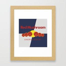 Red Mushroom Energy Boost Framed Art Print