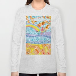Sea beach with a rainbow and shells - abstract doodle colorful landscape Long Sleeve T-shirt