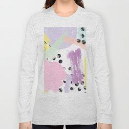 Modern purple yellow black coral pastel abstract watercolor geometric brushstrokes pattern Long Sleeve T-shirt