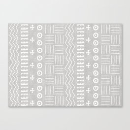 Funky African Mud Cloth in Grey Canvas Print