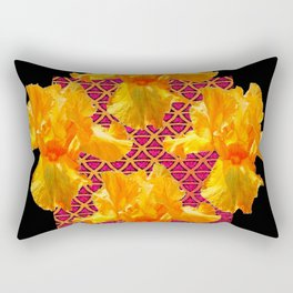 Golden Spring Iris Patterned Black  Decor Rectangular Pillow