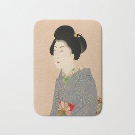 Japanese Art Print - Woman in Blue Kimono Bath Mat