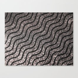 Silver Glitter With Black Squiggles Pattern Canvas Print