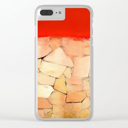 Urban Tiled Wall and Red Paint Clear iPhone Case