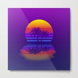 Synthwave Space #15: Twilight horizon (pixelart) Metal Print